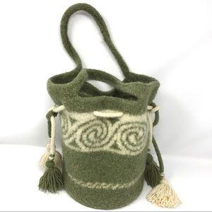 Felted Wool Handmade Bucket Bag-Drawstring Tassels